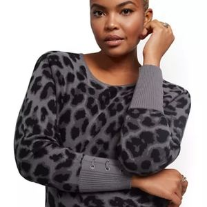 NY & Co Leopard-Print Lace-Up Cuff Dolman Sweater